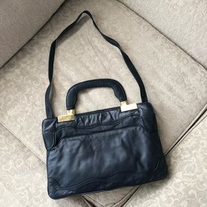 Handbags - vintage navy leather purse